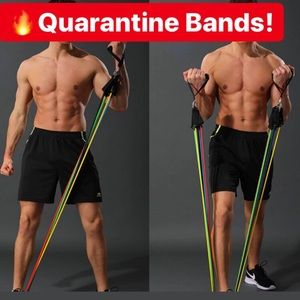 NEW 11pc WORKOUT BANDS 5 RESISTANCE Set IFBB